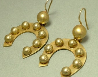 Antique/ estate Victorian 1800s, gilt metal / pinchbeck horseshoe lucky drop earrings - jewelry jewellery