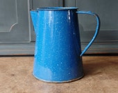 Vintage Enamelware Coffee Pot, Speckled Cobalt Blue, Kitchen, Collectibles, Primitive