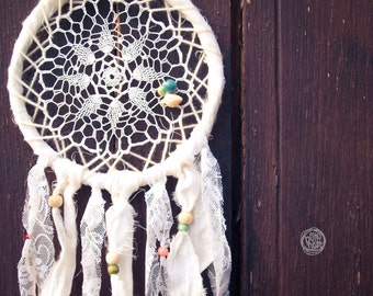 Dream Catcher - Best Summer - With White Crochet, Floral Laces and Colorful Beads - Boho Home Decor, Nursery Mobile
