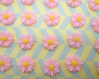 Flower Cabochons Resin Flowers 100pcs Pink Color Resin Sunflower Charms--14mm