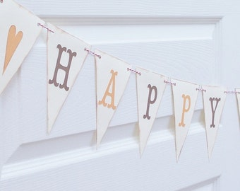 Primitive Country Style Thanksgiving Bunting Banner - Vintage Look Shabby Thanksgiving - Kraft Brown and Pumpkin