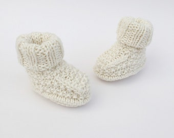 knitted baby booties, cream baby shoes, knit baby bootees
