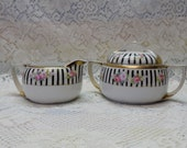 Nippon China Cream and Sugar Set Hand Painted Pink Roses and Black Stripes Gold Trimmed Shabby Chic