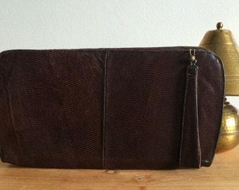 1940s Lizard Skin Oversized Clutch