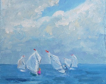 """STUDIO EVENT Sail Boats oil painting, original, 5""""X5"""" deep cradled wood panel  by Maine artist Adrienne Kernan LaVallee Art & Collectibles"""