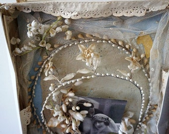 Antique French wedding tiara crown memory box shabby cottage chic waxed flowers w/ lace and postcard collectible decor anita spero design