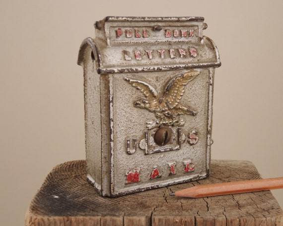 Antique Cast Iron Mailbox Bank 1930s U.S. Mail By