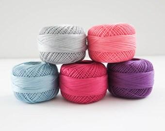 Pearl Cotton Thead Set | 5 Color Finca Perle Cotton Thread Set, Embroidery Thread, Presencia Thread - Lara Thread Set