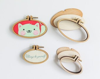 "4 Mini Oval Embroidery Hoops | 1.75"" and 2.5"" Horizontal Oval Embroidery Hoops from Dandelyne, DIY Jewelry, Hoop Art"