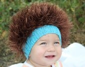Baby hats / Cabbage Patch Kids Hat  / Beanie Wig  / Children  fuzzy hat  / Baby costume / Halloween Costume / Brown