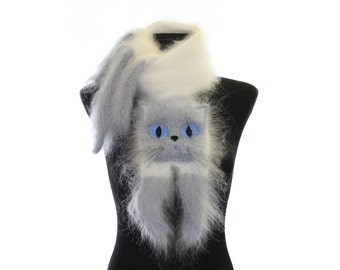 Knitted Scarf / Fuzzy white and gray blue Soft Scarf / cat scarf / knit cat scarf / Himalayan cat / animal scarf