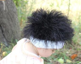 Baby hats / Cabbage Patch Kids Hat  / Beanie Wig  / Children  fuzzy hat  / Baby costume / Halloween Costume / Black