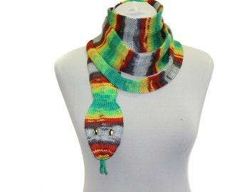 Snake Scarf  /  Hand Knit Scarf  /  Multicolor   / animal scarf / halloween