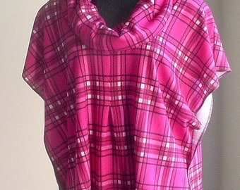 ON SALE-15% OFF- Handmade designer Poncho-Top Cover Topper Wrap plaid Hot Pink Maroon White Black Sweater-Knit - 1sz