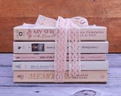 Shabby Pink Books Wedding Decor Vintage Paperbacks Library Staging Bridal Shower Baby Shower Nursery Beach Cottage Peachy Pink Cream