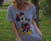 Women's Grey Mickey Mouse Christmas Off The Shoulder Tee Top Shirt