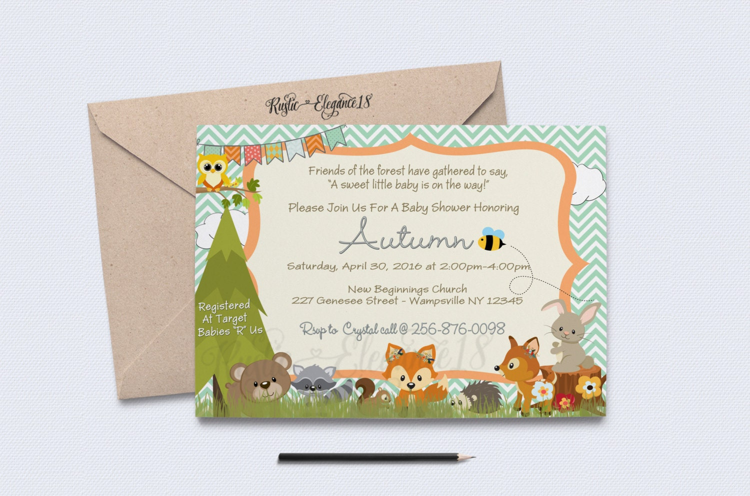 woodland themed invitation baby shower invite forest