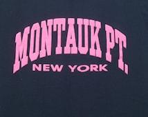 Vintage 1980s Montauk Point NY Black Souvenir T-Shirt L 50 50 Cotton Poly Blend