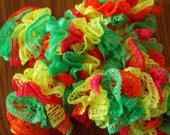 Lace Ruffle Scarf - Fiesta Party- Fun - beautiful, bright colors - Child scarf - Child lace scarf - Child Ruffle Scarf (SC26)