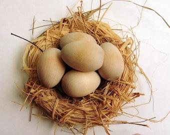 Wooden EGGS Set of 5 * Blank * Chicken egg / Hen egg / Bird egg > Wood bird eggs / Easter Egg / Easter gift / Waldorf Art & Craft Australia