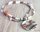 Rustic necklace Nature jewelry Leaf brown ceramic pendant / perfect gift for her