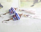Tassel Earrings, Silver blue Earrings, Textile and ceramic Earrings, Tassel Jewelry, Gipsy Fringe Earrings, Boho