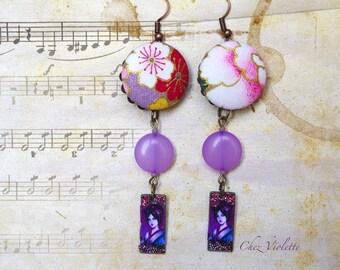 Purple Geisha earrings Japan style fabric jewelry