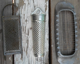 primitive kitchen gadget 1940s food grater West Germany grater tube  Free USA Shipping