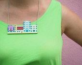 Miami Ocean's Drive Art Deco Statement Necklace. 1920s Pastel Coloured Buildings Bib Necklace. Florida 1930s Beach Hotels Chain.