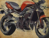TRIUMPH Motorcycle STREET TRIPLE 2011, 14x10 in. to 60x42 in. Original Art, Home decor, Print for men office, abstract bike
