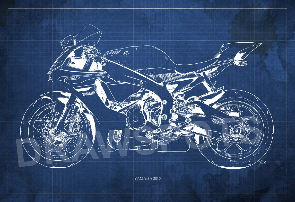 Yamaha 2015 blueprint art print 8x12in and larger sizes motorcycle yamaha 2015 blueprint art print 8x12in and larger sizes motorcycle art printoriginal drawing for men cave malvernweather Gallery