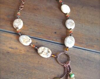 Western Jewelry, Sundance Style Necklace, White Turquoise Jewelry, BOHO Necklace, Southwest Jewelry*COURAGE*