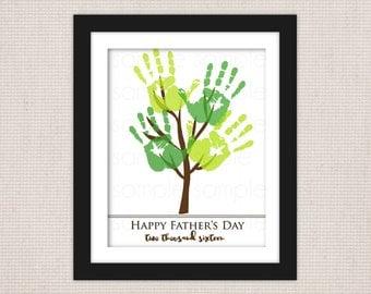 DIY Father's Day Handprint Tree Keepsake Art Print Printable PDF // 2 Sizes