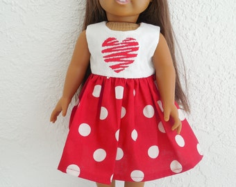 18 Doll Dress Red and White Polka Dots fits American Girl Dolls