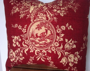 "Red toile Country house French toile pillow cover 18"" X 18"""