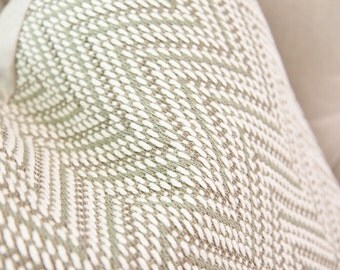 Schumacher Gray Zig Zag Pillow Cover - Off White Green & Gray Chevron Pillow Cover - Soft Pillow Cover - Woven Chevron Pillow - Throw Pillow
