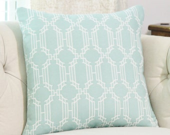 Decorative Aqua Geometric Pillow Cover - Teal Blue Green Pillow - Soft Lattice Aqua Cushion - Indoor Outdoor Throw Pillow - Aqua Blue