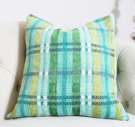 Plaid Pillow Teal Blue Chartreuse Gray And White Chenille