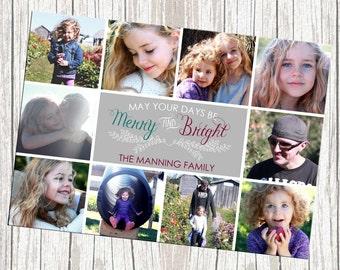 Photo Holiday Card, Ten Photos, Printable