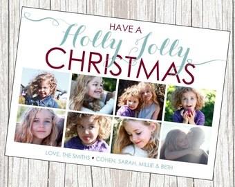 Photo Christmas Card, Eight Photos, Printable