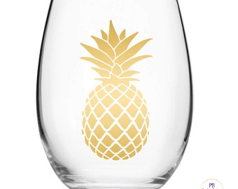 Gold Pineapple decal for wine glass /DIY Decal / Car Decal / Tumbler Decal