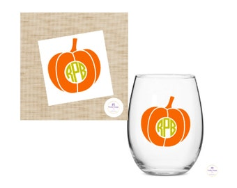Pumpkin Monogram decal for wine glass /DIY Decal / Car Decal / Tumbler Decal