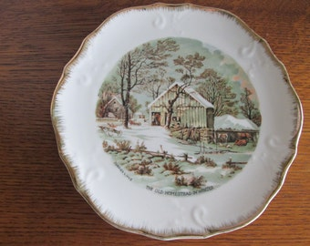 Vintage Currier & Ives The Old Homestead in Winter Plate