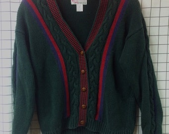 Milano Red Green & Blue Striped Knit Sweater Cardigan