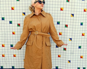 JOAN FASHIONBILT Camel Long Brown Belted Trench Coat