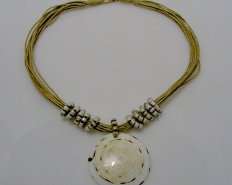 Natural Shell Pendant Necklace with natural shell beads.