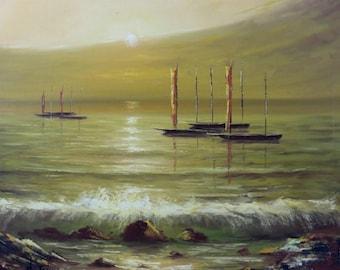 Serene Sunset Ocean Original Oil on Canvas Framed Art