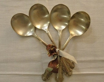 King Edward Silverplate Rose Antique Soup Spoons