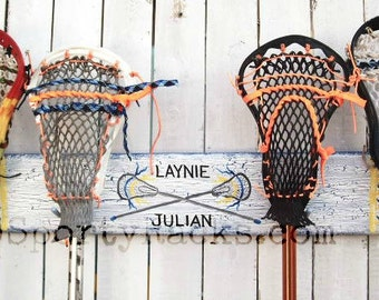 Brother Sister Lacrosse Family Stick Storage Hook Sport Display Rack Hanger Custom Lax Team Colors Unique Wall Furnishing Athletic Decor