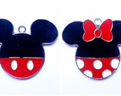 Cute Mickey and Minnie Mouse Enamel Clip Charm, zipper pull, backpack, cell phone, purse clip, bracelet, necklace or scrapbooking